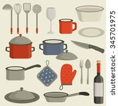 cookware. kitchen utensils.... | Shutterstock .eps vector #345701975