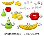 bright red apple  juicy yellow... | Shutterstock .eps vector #345703295