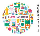 i love handmade. tools and... | Shutterstock .eps vector #345706946