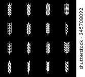 vector white wheat ear icon set. | Shutterstock .eps vector #345708092