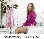 beautiful woman portrait...   Shutterstock . vector #345711152