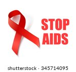 stop aids   background with red ... | Shutterstock . vector #345714095