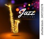 golden saxophone on black... | Shutterstock .eps vector #345723278