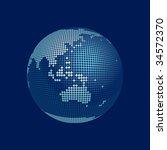 dots stylized 3D vector globe, australia - stock vector