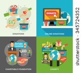 charity concept icons set with... | Shutterstock .eps vector #345724352