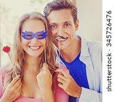amateur style portrait. couple... | Shutterstock . vector #345726476
