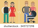 types of young family  child... | Shutterstock .eps vector #345727298