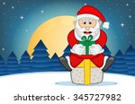 santa claus with star  sky and...   Shutterstock .eps vector #345727982