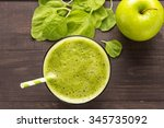 healthy green smoothie with... | Shutterstock . vector #345735092