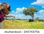 safari in africa  child in car... | Shutterstock . vector #345743756