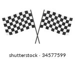 checkered finish flags isolated ... | Shutterstock . vector #34577599