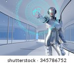 figure of the robot in a glass... | Shutterstock . vector #345786752