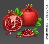 juicy pomegranate | Shutterstock .eps vector #345792716
