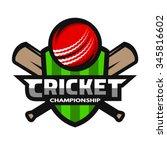 cricket sports label  badge ... | Shutterstock .eps vector #345816602