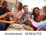group of friends celebrating... | Shutterstock . vector #345816752