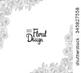 Black and white outline  border made with flowers. Floral corner