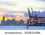 beautiful sunset over  downtown ... | Shutterstock . vector #345831086