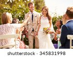 guests throwing confetti over... | Shutterstock . vector #345831998