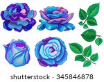 vector set of watercolor... | Shutterstock .eps vector #345846878