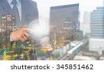 double exposure of businessman... | Shutterstock . vector #345851462