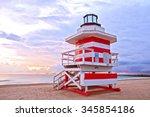 sunrise in miami beach florida  ...   Shutterstock . vector #345854186
