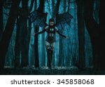 girl vampire  a demon with bat... | Shutterstock . vector #345858068