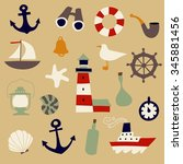 cute nautical set. flat vector... | Shutterstock .eps vector #345881456