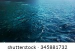 blue deep sea waves with foam... | Shutterstock . vector #345881732