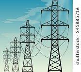 high voltage overhead power...   Shutterstock .eps vector #345885716