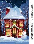 christmas winter wonderland... | Shutterstock .eps vector #345890606