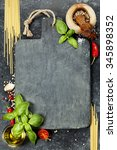 vintage cutting board and fresh ... | Shutterstock . vector #345898352