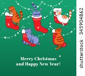merry christmas card with... | Shutterstock .eps vector #345904862