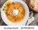 soup with sauerkraut and millet.... | Shutterstock . vector #345908945