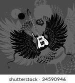 flying guitar | Shutterstock .eps vector #34590946