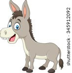 Cartoon Happy Donkey Isolated...