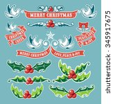 vintage christmas elements  ... | Shutterstock .eps vector #345917675