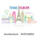 colorful travel europe hand... | Shutterstock .eps vector #345918002