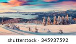 colorful winter panorama of... | Shutterstock . vector #345937592