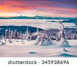 foggy winter sunrise in the... | Shutterstock . vector #345938696