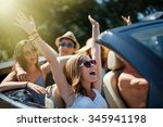 five young people having fun in ... | Shutterstock . vector #345941198