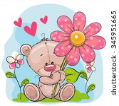 Greeting Card Bear With Flower...
