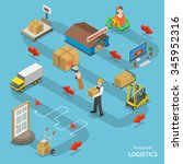 transport logistics isometric... | Shutterstock .eps vector #345952316