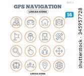 gps navigation icons. car  bus... | Shutterstock . vector #345957728