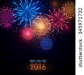 colorful fireworks on black... | Shutterstock .eps vector #345971732