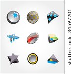 set from multicolored icons or... | Shutterstock .eps vector #34597201