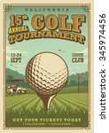 vintage golf poster with a golf ... | Shutterstock .eps vector #345974456