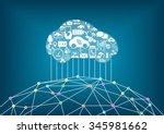 connected driverless car...   Shutterstock .eps vector #345981662