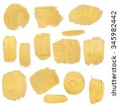 gold paint stokes set isolated... | Shutterstock . vector #345982442
