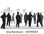 a group of people walking on... | Shutterstock .eps vector #3459854