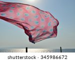 Pink Beach Scarf Flying On...